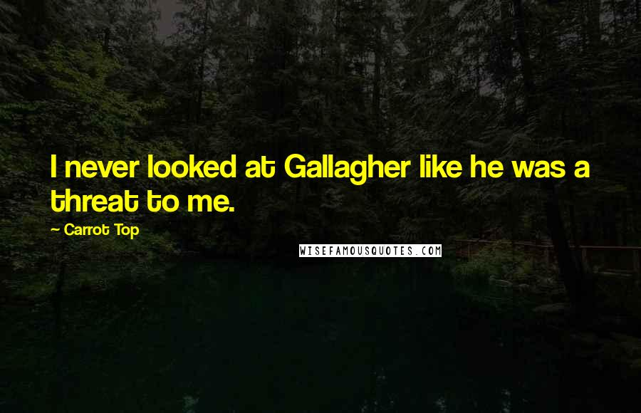 Carrot Top quotes: I never looked at Gallagher like he was a threat to me.