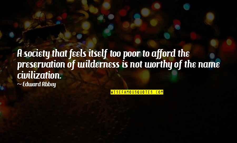Cartman Kitty Quotes By Edward Abbey: A society that feels itself too poor to