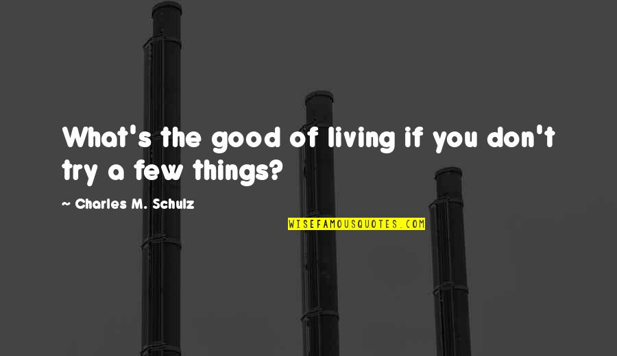 Cartoonist Quotes By Charles M. Schulz: What's the good of living if you don't