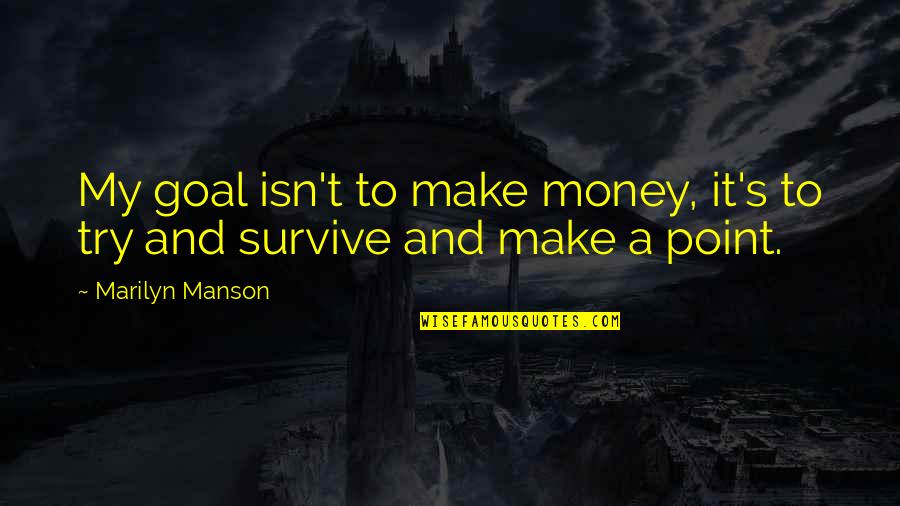 Cartridges Quotes By Marilyn Manson: My goal isn't to make money, it's to