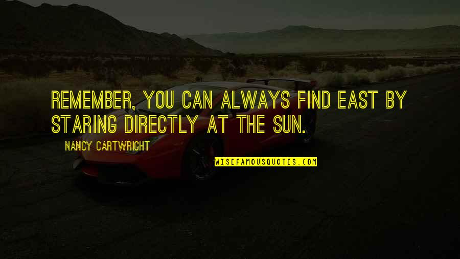 Cartwright Quotes By Nancy Cartwright: Remember, you can always find East by staring