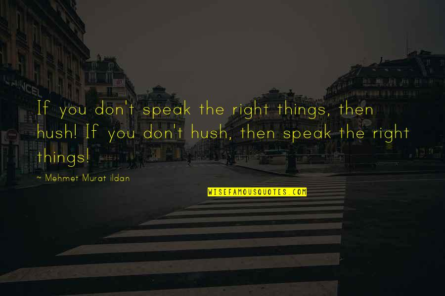 Casey Becker Quotes By Mehmet Murat Ildan: If you don't speak the right things, then