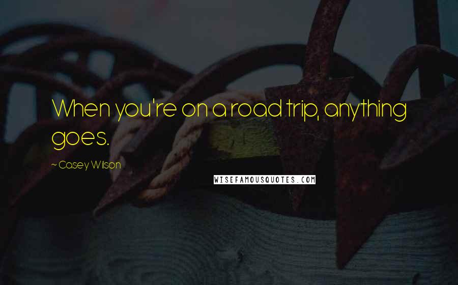 Casey Wilson quotes: When you're on a road trip, anything goes.