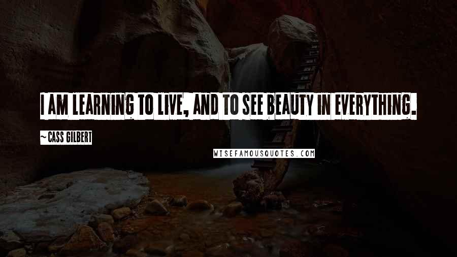Cass Gilbert quotes: I am learning to live, and to see beauty in everything.