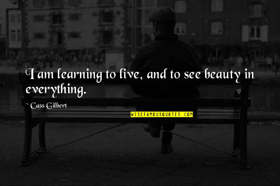 Cass Quotes By Cass Gilbert: I am learning to live, and to see