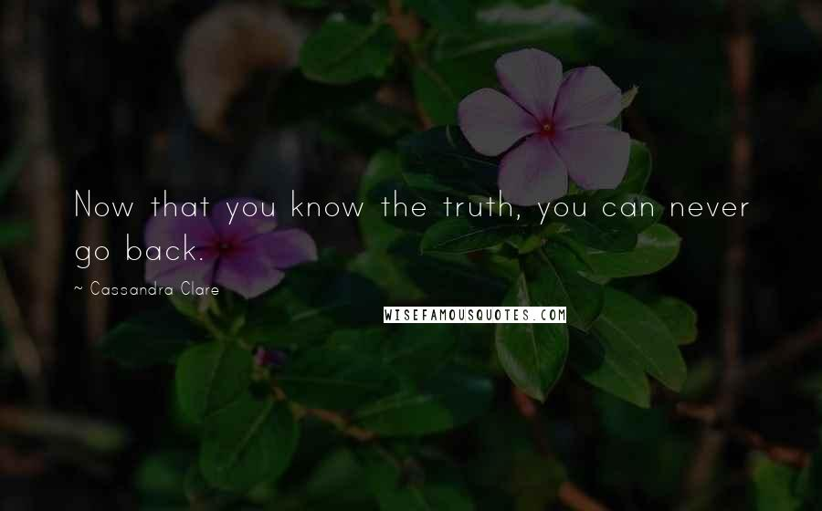 Cassandra Clare quotes: Now that you know the truth, you can never go back.