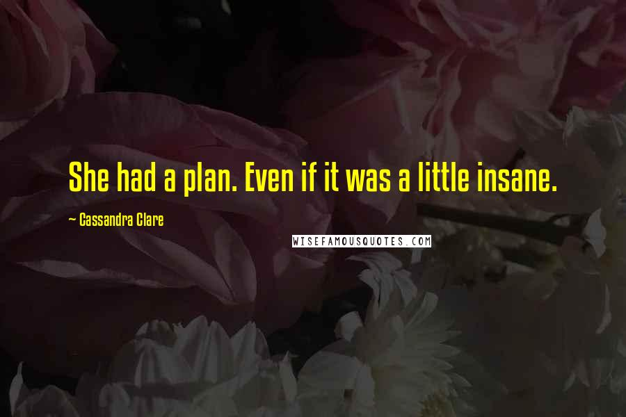Cassandra Clare quotes: She had a plan. Even if it was a little insane.