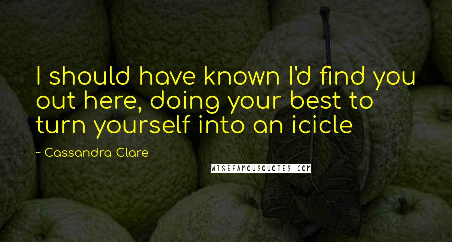 Cassandra Clare quotes: I should have known I'd find you out here, doing your best to turn yourself into an icicle