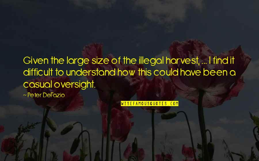 Casual Quotes By Peter DeFazio: Given the large size of the illegal harvest,