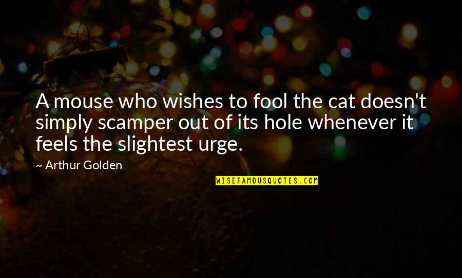 Cat And Mouse Quotes By Arthur Golden: A mouse who wishes to fool the cat