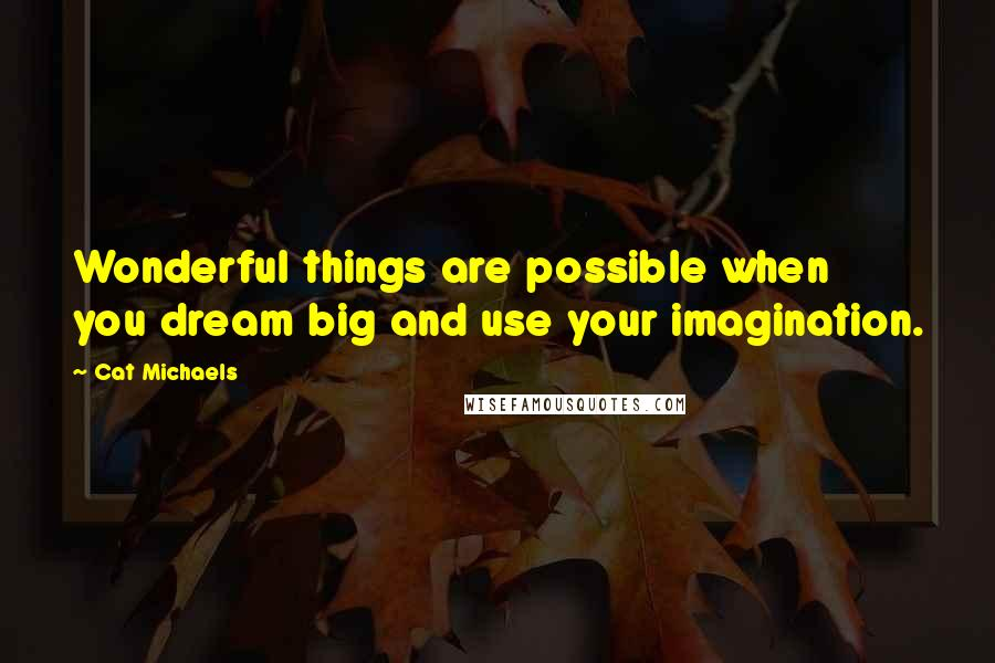Cat Michaels quotes: Wonderful things are possible when you dream big and use your imagination.