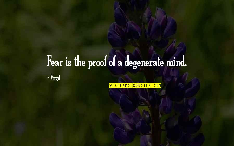 Catchy Pro Life Quotes By Virgil: Fear is the proof of a degenerate mind.