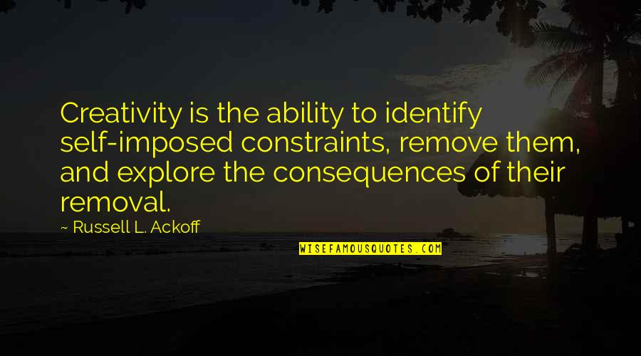 Catchy Save Water Quotes By Russell L. Ackoff: Creativity is the ability to identify self-imposed constraints,