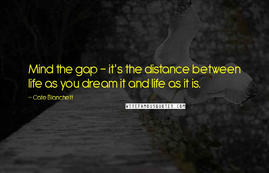 Cate Blanchett quotes: Mind the gap - it's the distance between life as you dream it and life as it is.