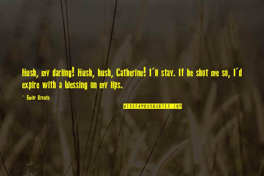 Catherine And Heathcliff Quotes By Emily Bronte: Hush, my darling! Hush, hush, Catherine! I'll stay.