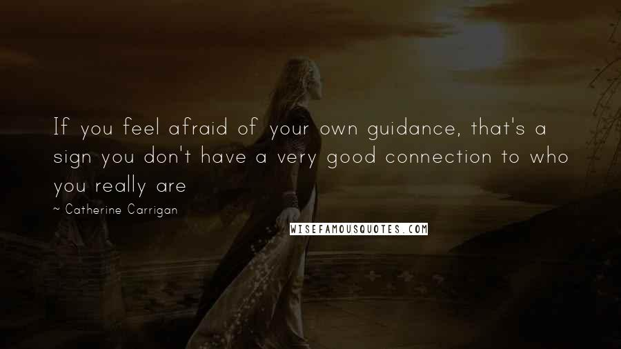 Catherine Carrigan quotes: If you feel afraid of your own guidance, that's a sign you don't have a very good connection to who you really are