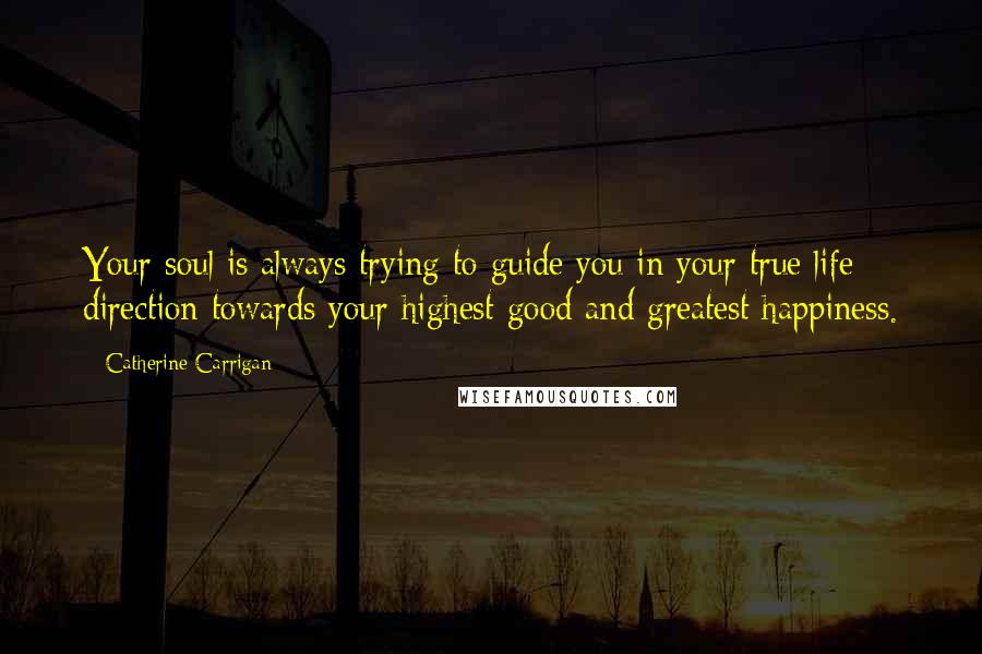Catherine Carrigan quotes: Your soul is always trying to guide you in your true life direction towards your highest good and greatest happiness.