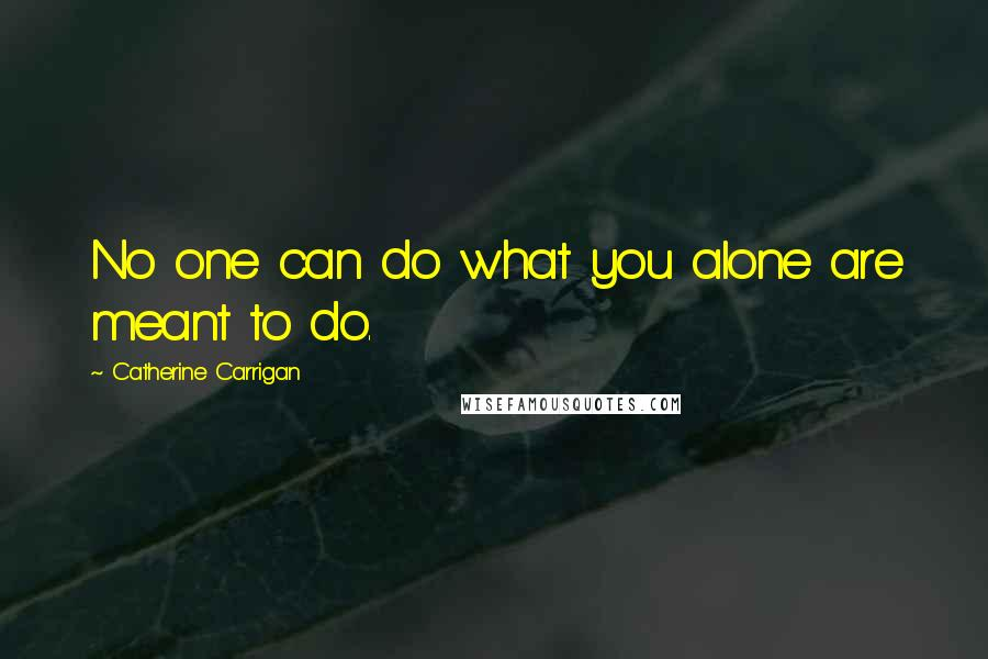 Catherine Carrigan quotes: No one can do what you alone are meant to do.