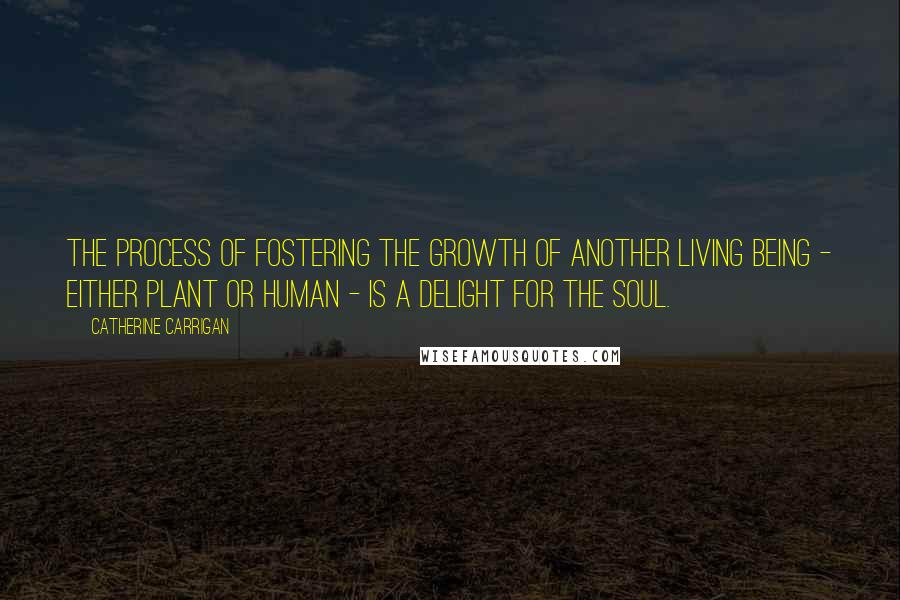Catherine Carrigan quotes: The process of fostering the growth of another living being - either plant or human - is a delight for the soul.