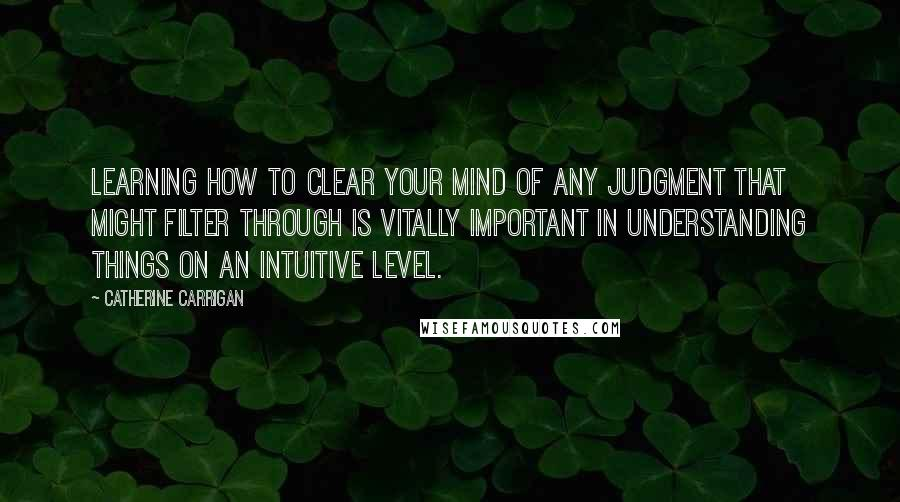 Catherine Carrigan quotes: Learning how to clear your mind of any judgment that might filter through is vitally important in understanding things on an intuitive level.