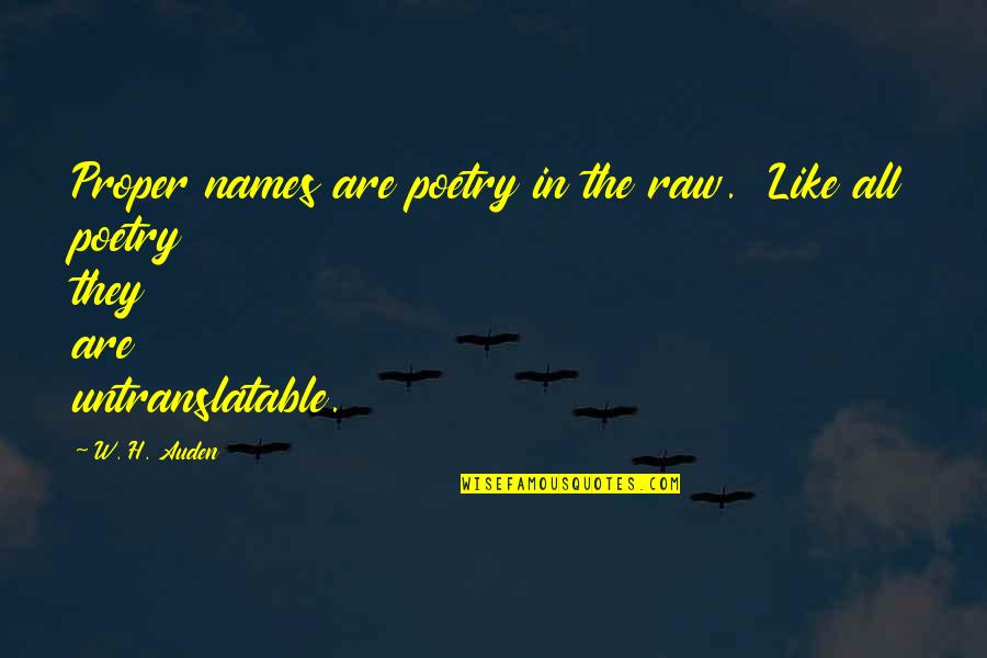 Cathy Horyn Quotes By W. H. Auden: Proper names are poetry in the raw. Like