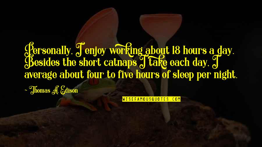 Catnaps Quotes By Thomas A. Edison: Personally, I enjoy working about 18 hours a
