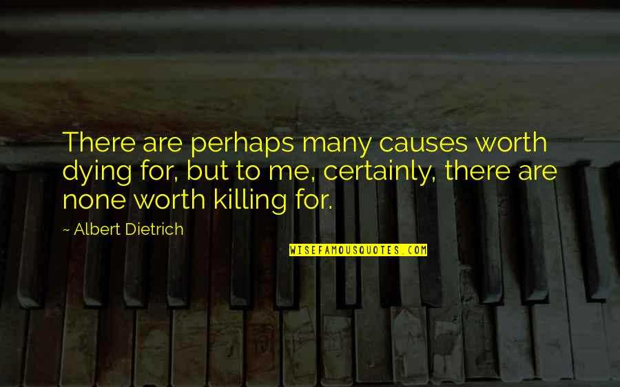 Causes Of War Quotes By Albert Dietrich: There are perhaps many causes worth dying for,