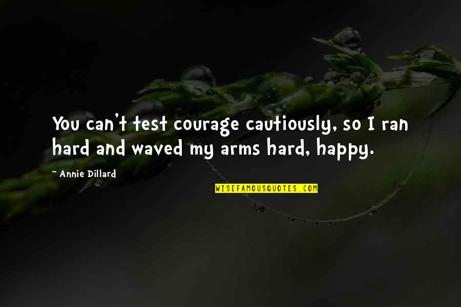 Cautiously Quotes By Annie Dillard: You can't test courage cautiously, so I ran
