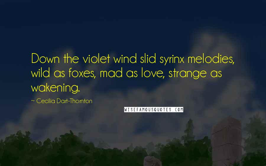 Cecilia Dart-Thornton quotes: Down the violet wind slid syrinx melodies, wild as foxes, mad as love, strange as wakening.