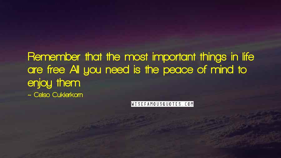 Celso Cukierkorn quotes: Remember that the most important things in life are free. All you need is the peace of mind to enjoy them.