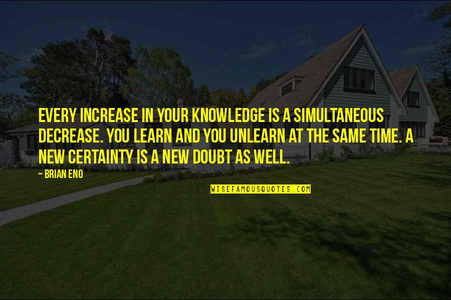 Certainty And Doubt Quotes By Brian Eno: Every increase in your knowledge is a simultaneous