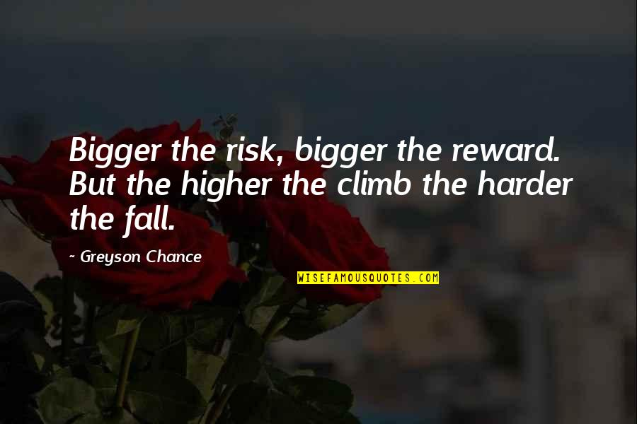 Cesare Cremonini Quotes By Greyson Chance: Bigger the risk, bigger the reward. But the
