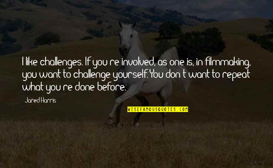 Challenge Yourself Quotes By Jared Harris: I like challenges. If you're involved, as one