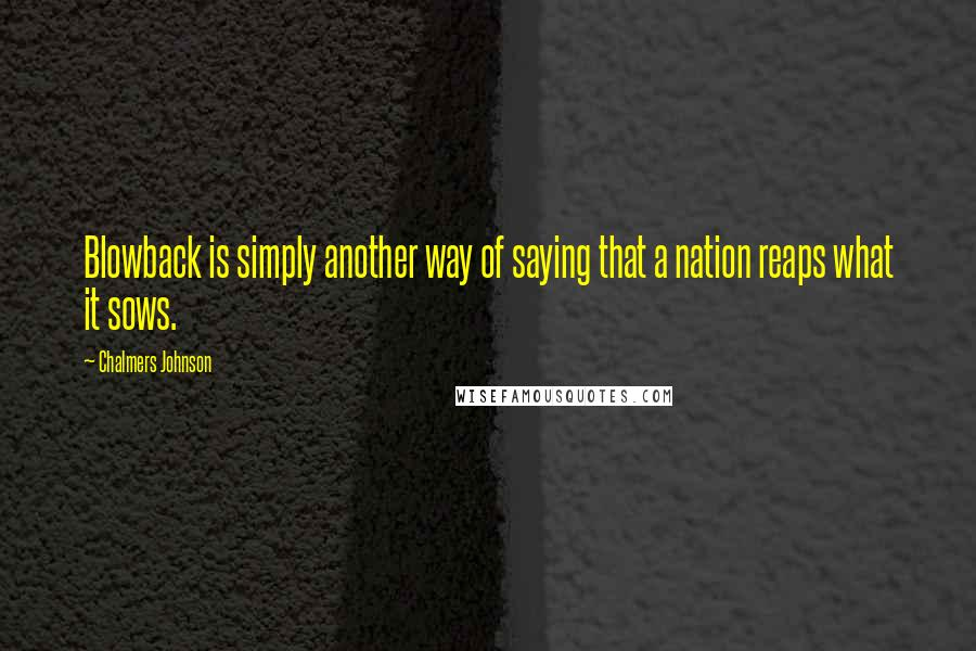 Chalmers Johnson quotes: Blowback is simply another way of saying that a nation reaps what it sows.