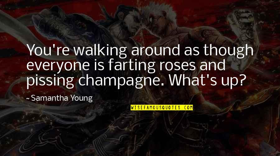 Champagne Quotes By Samantha Young: You're walking around as though everyone is farting