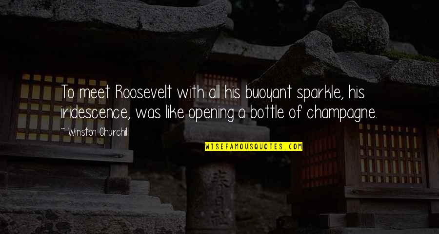 Champagne Quotes By Winston Churchill: To meet Roosevelt with all his buoyant sparkle,
