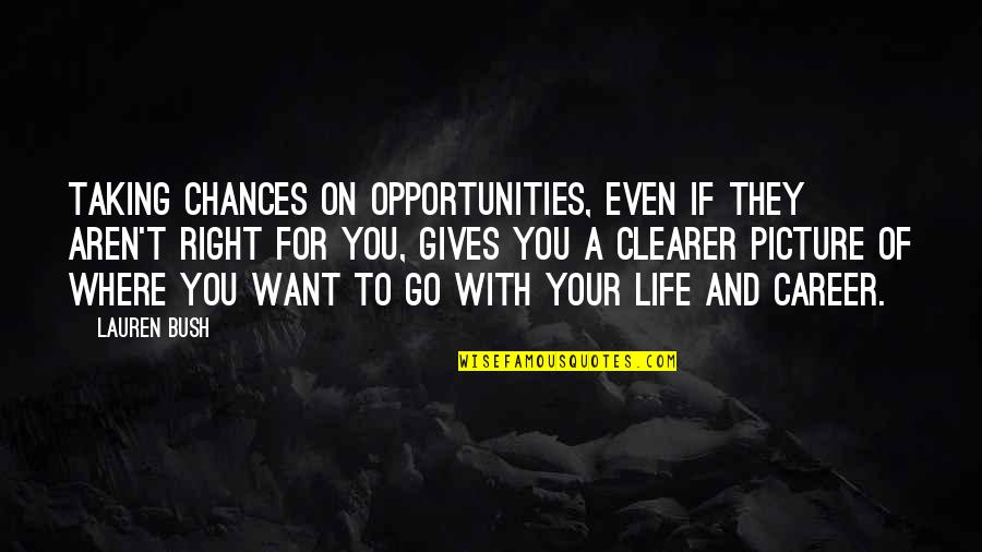 Chances And Opportunities Quotes By Lauren Bush: Taking chances on opportunities, even if they aren't
