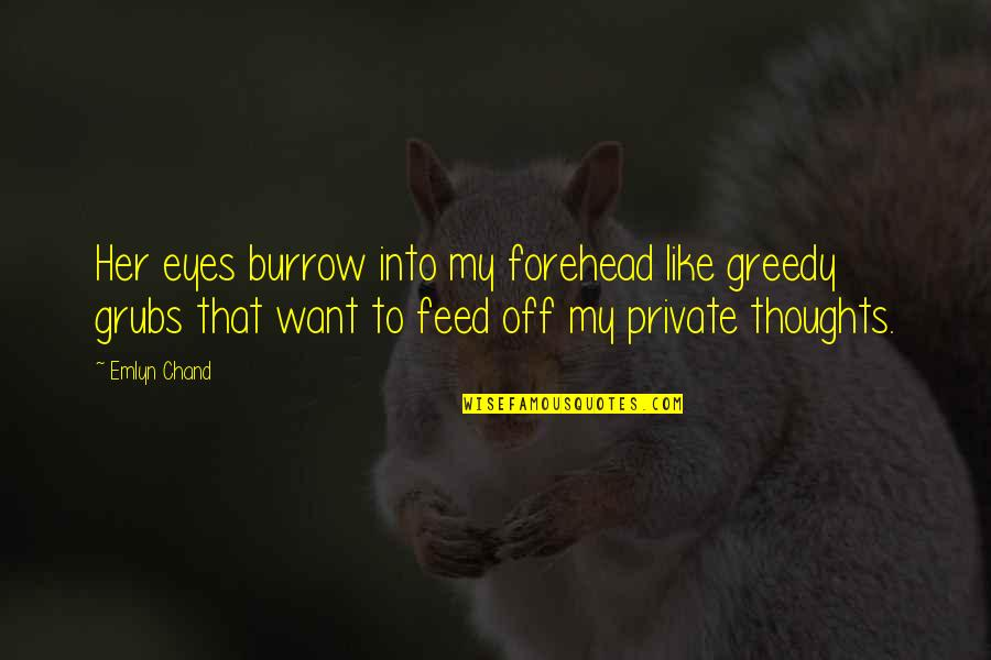 Chand Quotes By Emlyn Chand: Her eyes burrow into my forehead like greedy