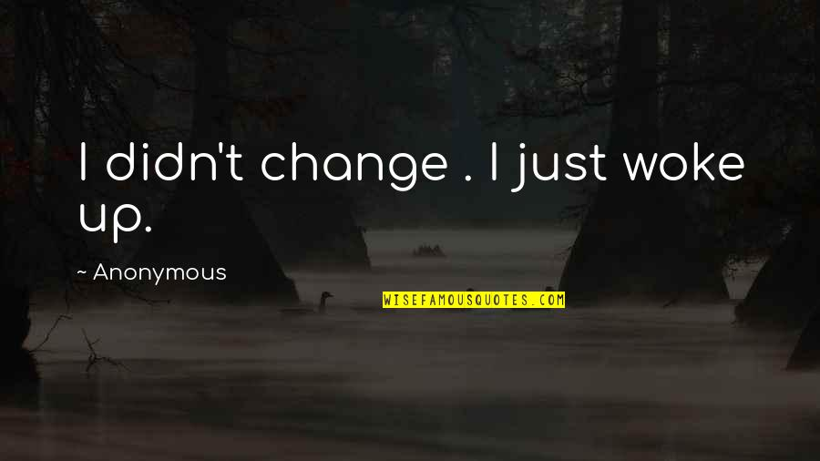 Change Anonymous Quotes By Anonymous: I didn't change . I just woke up.