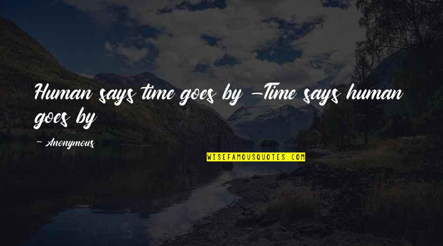 Change Anonymous Quotes By Anonymous: Human says time goes by -Time says human