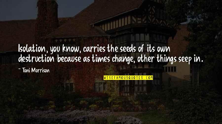 Change Because Of You Quotes By Toni Morrison: Isolation, you know, carries the seeds of its