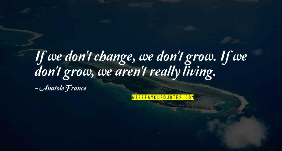 Change For Growth Quotes By Anatole France: If we don't change, we don't grow. If