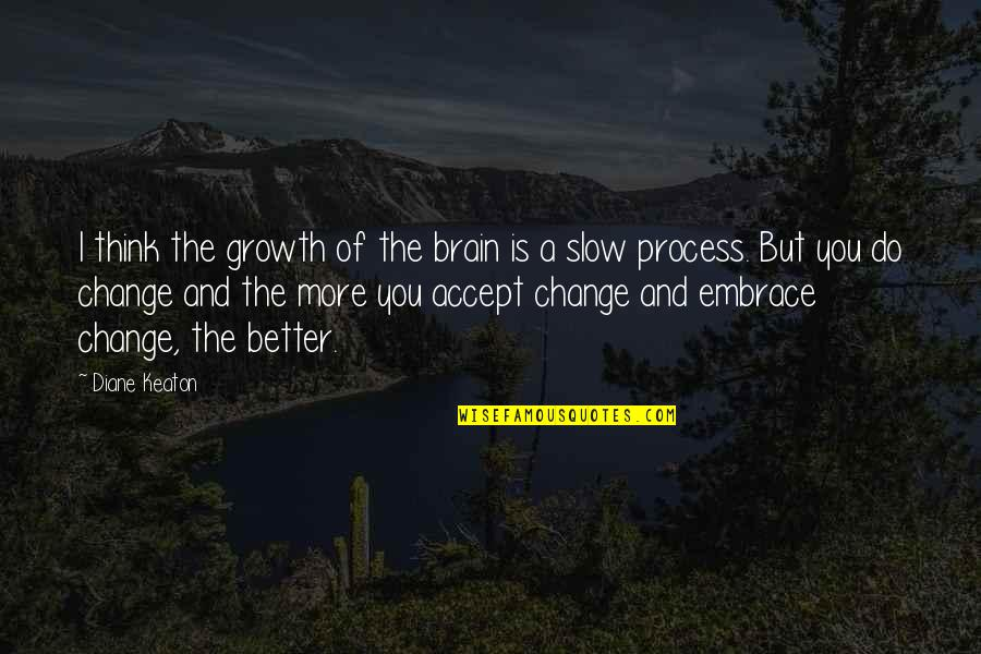 Change For Growth Quotes By Diane Keaton: I think the growth of the brain is