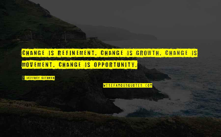 Change For Growth Quotes By Jeffrey Gitomer: Change is REFINEMENT. Change is GROWTH. Change is
