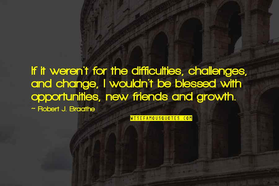 Change For Growth Quotes By Robert J. Braathe: If it weren't for the difficulties, challenges, and