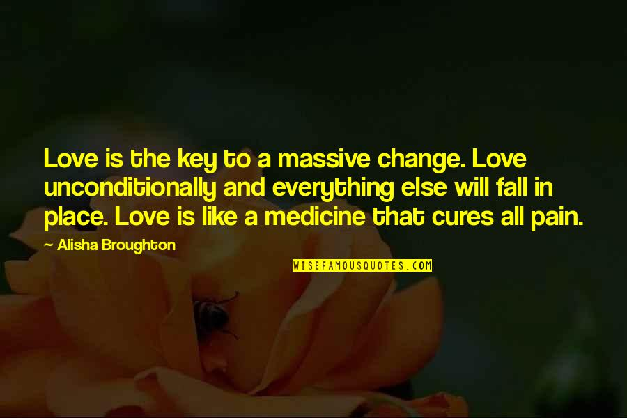 Change In Love Quotes By Alisha Broughton: Love is the key to a massive change.