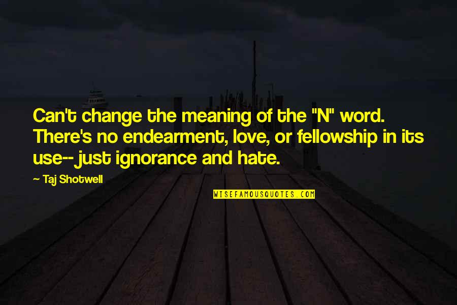 """Change In Love Quotes By Taj Shotwell: Can't change the meaning of the """"N"""" word."""
