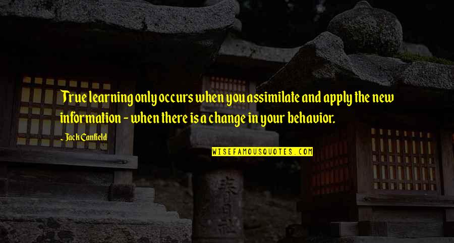 Change In You Quotes By Jack Canfield: True learning only occurs when you assimilate and