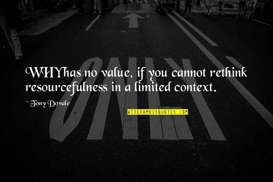 Change In You Quotes By Tony Dovale: WHY has no value, if you cannot rethink