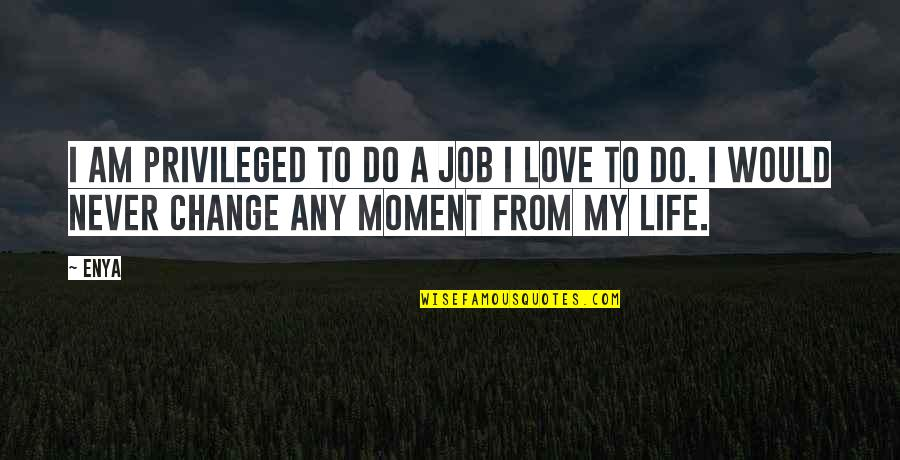 Change Life Quotes By Enya: I am privileged to do a job I